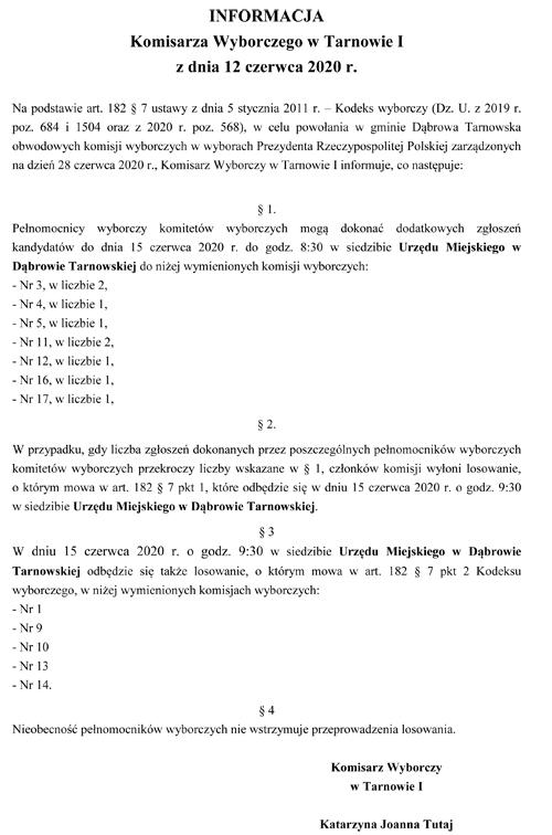 losowanie ObKW 15 06 2020 Informacja o terminie dodatkowych zgłoszeń oraz o losowaniu składów Obwodowych Komisji Wyborczych w Gminie Dąbrowa Tarnowska w wyborach Prezydenta RP zarządzonych na 28 czerwca 2020 r.