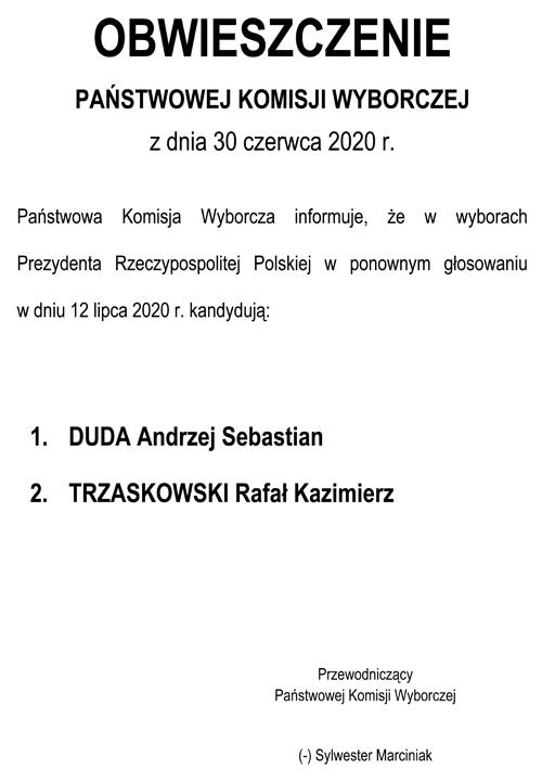 obwieszczenie o II turze wybory prezydentaRP 2020 W niedzielę 12 lipca II tura wyborów prezydenckich 2020   Obwieszczenie PKW o kandydatach