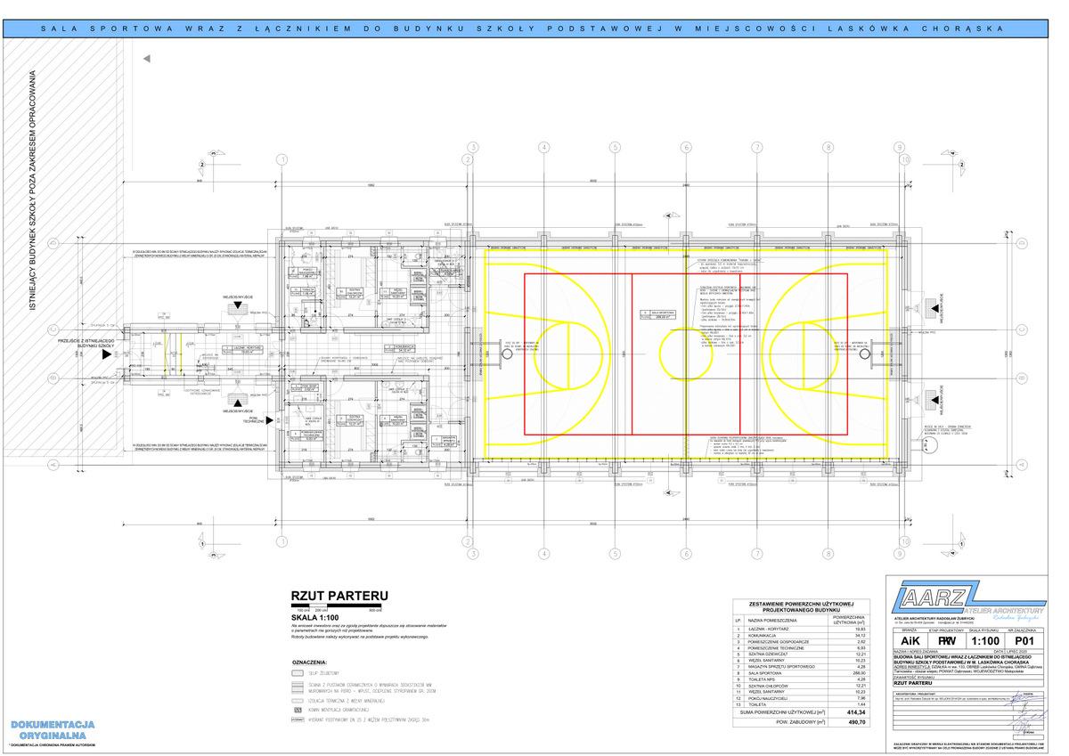 1 Segregator1 01 Projekt sali gimnastycznej przy Szkole Podstawowej w Laskówce Chorąskiej