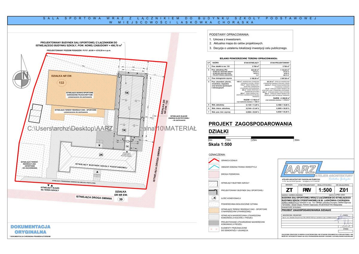 5 Segregator1 05 Projekt sali gimnastycznej przy Szkole Podstawowej w Laskówce Chorąskiej