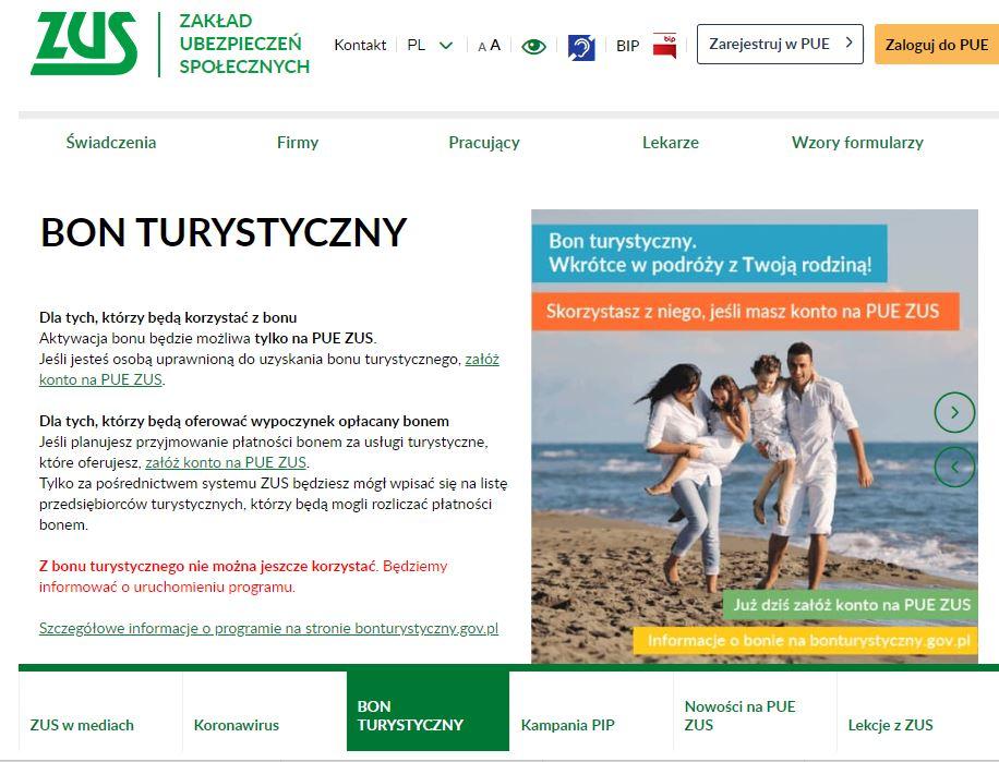 BON www ZUS Bon turystyczny