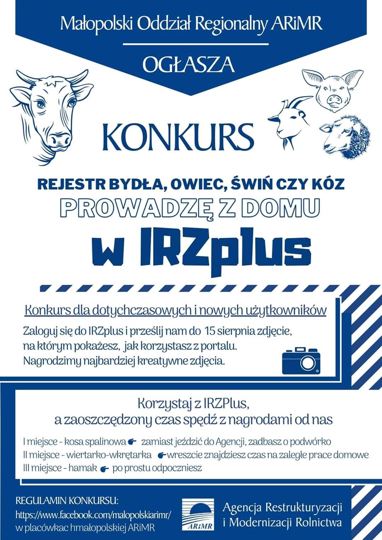 Konkurs IRZ big Małopolski Oddział Regionalny ARiMR ogłasza konkurs dla użytkowników portalu IRZplus.