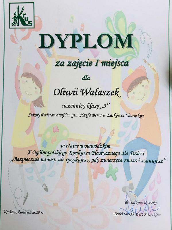 Konkurs KRUS LCh 2020 7 Finał etapu powiatowego X edycji Ogólnopolskiego Konkursu Plastycznego dla dzieci organizowanego przez Kasę Rolniczego Ubezpieczenia Społecznego