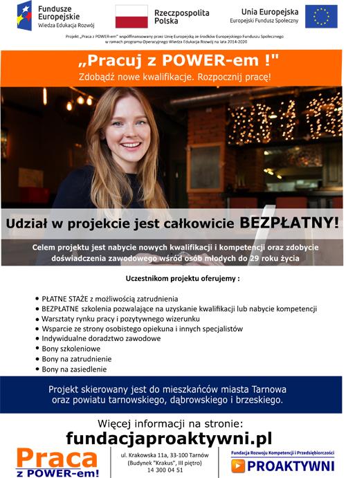 """Plakat 20200630s Weź udział w projekcie """"Praca z POWER em!"""""""
