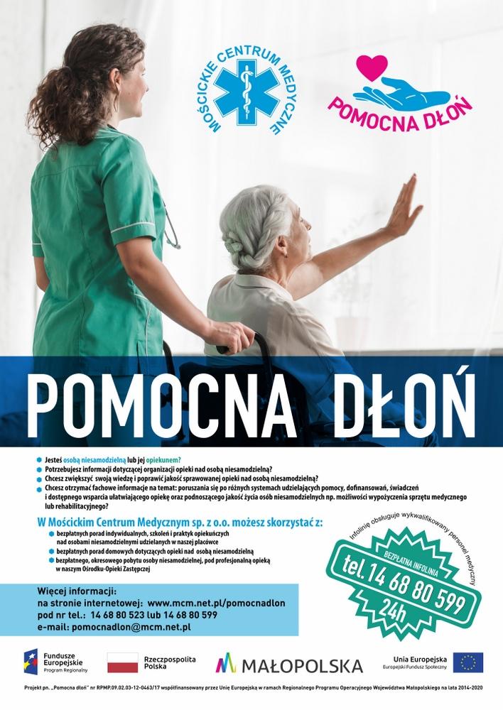 Pomocna dłoń plakat v2 Projekt Mościckiego Centrum Medycznego Pomocna Dłoń dla osób niesamodzielnych i ich opiekunów