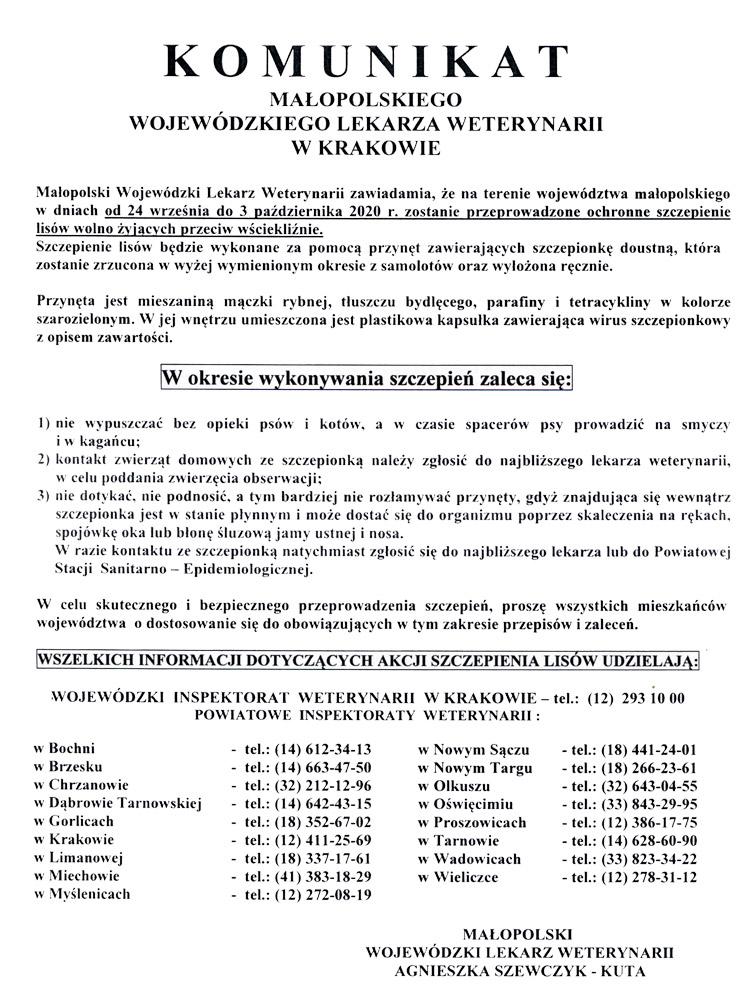 KomunikatMLW szczepienie lisów 194 Komunikat Małopolskiego Wojewódzkiego Lekarza Weterynarii w Krakowie dot. akcji szczepienia lisów