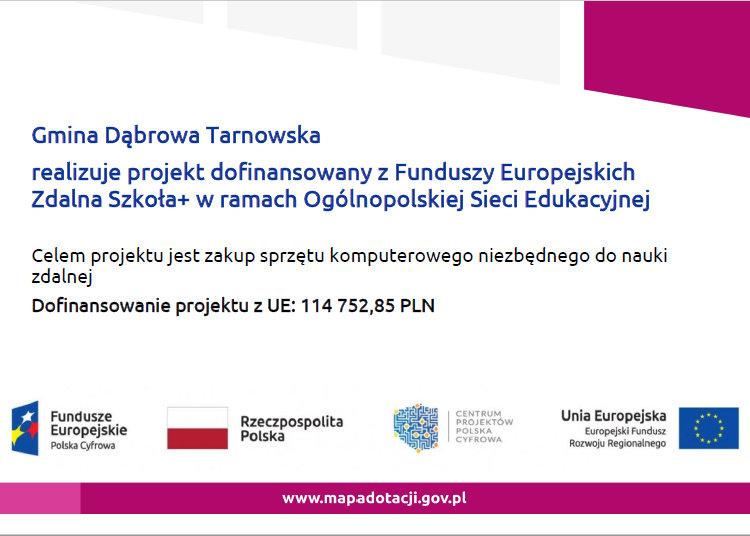 Zdalna  Zdalna Szkoła Plus w Gminie Dąbrowa Tarnowska