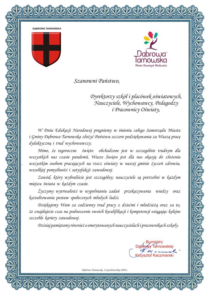 DEN 2020 BDT Życzenia od Samorządu Gminy Dąbrowa Tarnowska na Dzień Edukacji Narodowej