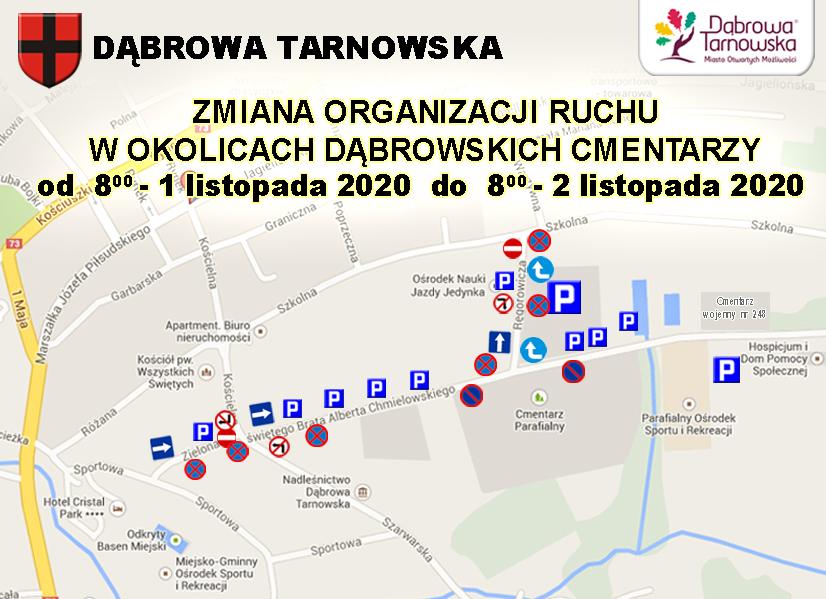 Zmiana organizacji ruchu 2020 cmentarze <font color=r />Informacja o zmianie organizacji ruchu w obrębie dąbrowskich cmentarzy w dniach 1 – 2 listopada 2020 r.</font>