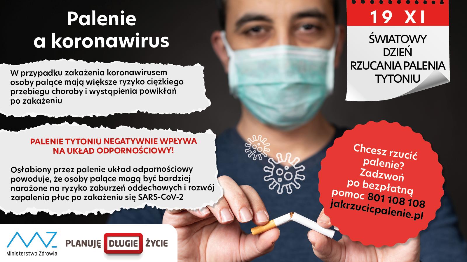 Palenie a koronawirus Rzuć palenie dzisiaj w Światowym Dniu Rzucania Palenia Tytoniu