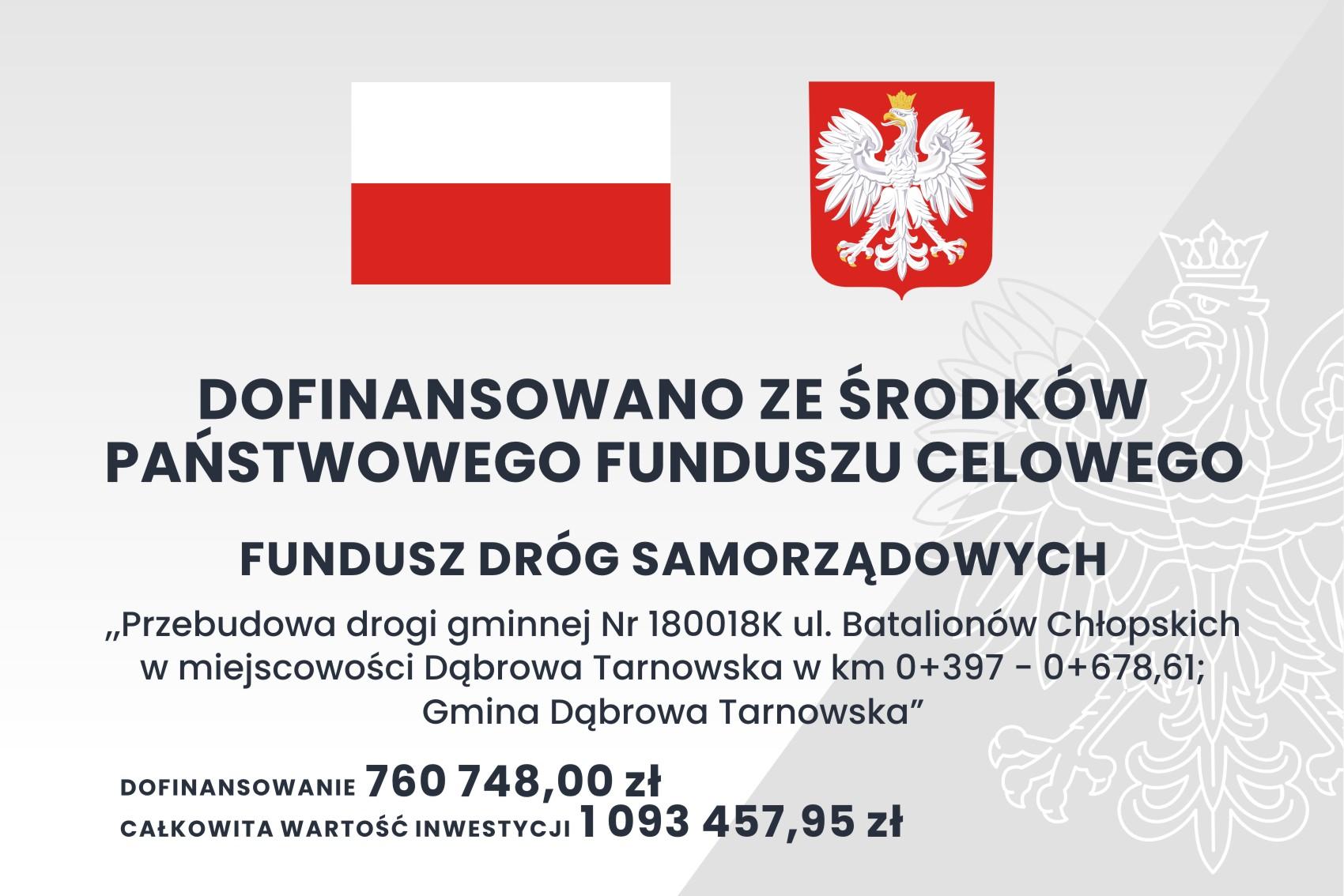 tablica3 FDS 2szt1 <cent />Fundusz Dróg Samorządowych<br>w Gminie Dąbrowa Tarnowska</center>