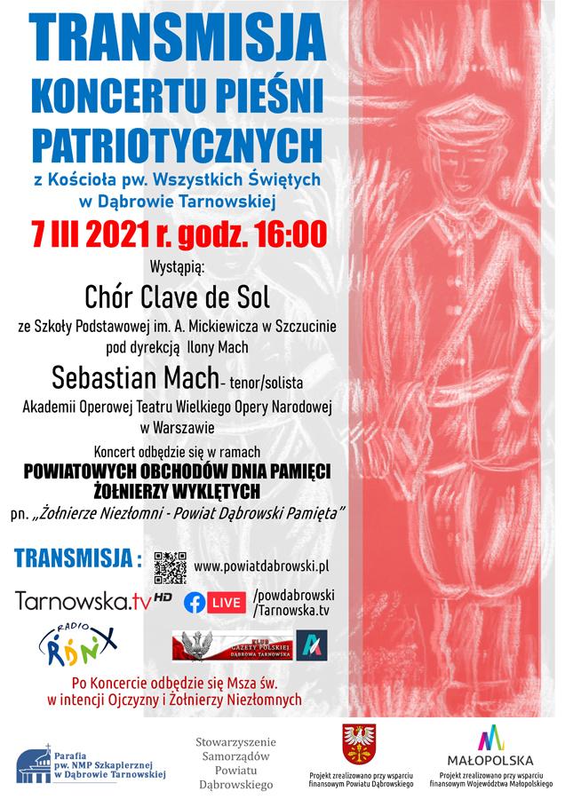 PLAKAT KONCERT ZOLNEIRZE WYKLECI 2021 Zapraszamy na transmisję Koncertu pieśni patriotycznych ku pamięci Żołnierzy Wyklętych