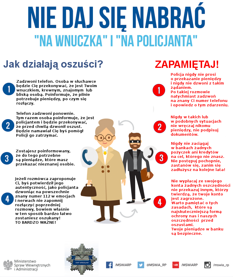 """Plakat oszustwo Apel Policji w sprawie oszustw metodą """"na wnuczka"""" lub """"na policjanta"""""""