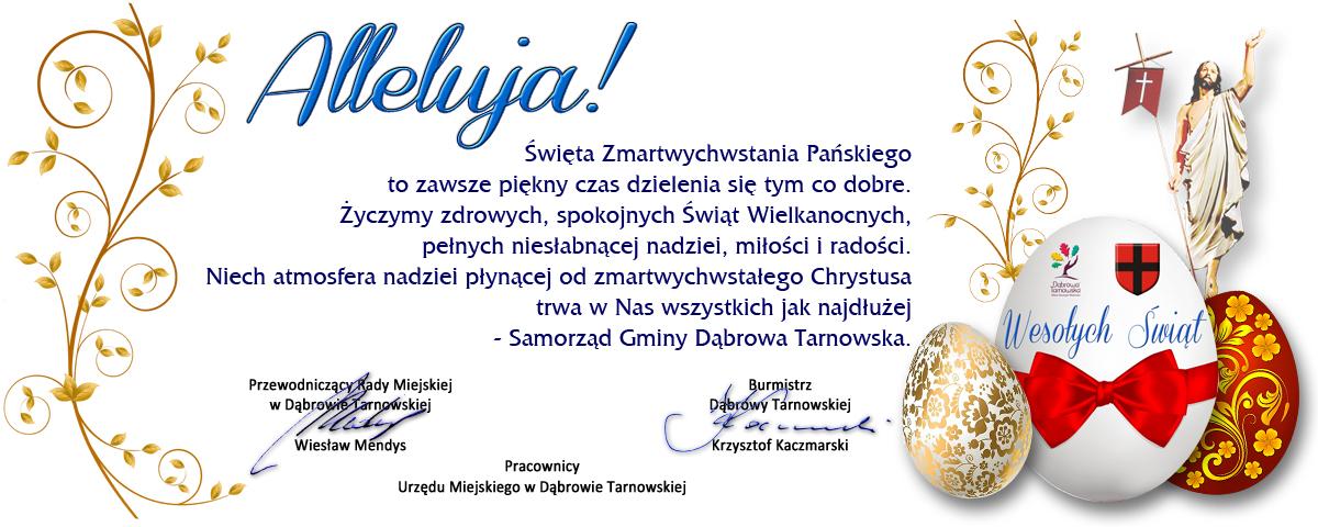 Życzenia Wielkanoc 2021 UMDT 1200 Zdrowych i radosnych Świąt Zmartwychwstania Chrystusa życzy samorząd Gminy Dąbrowa Tarnowska