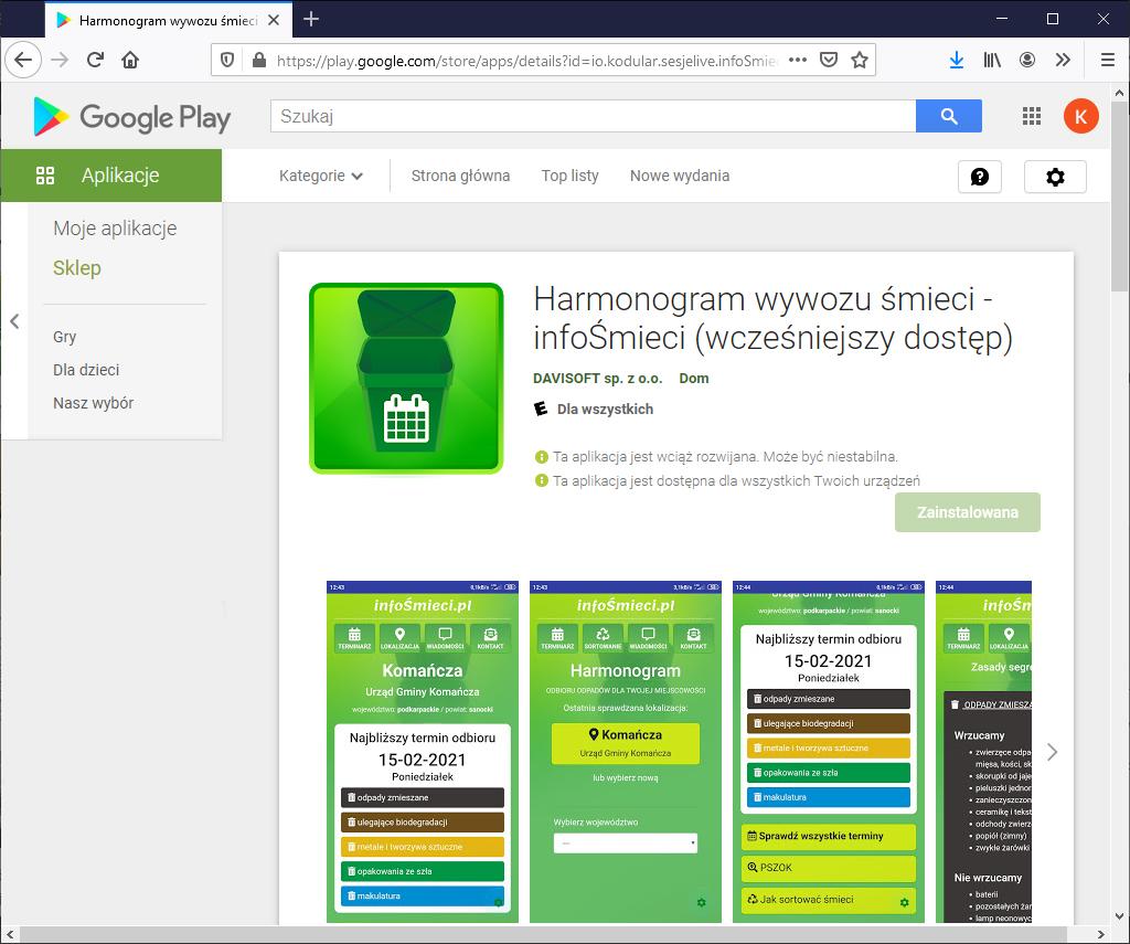 GoogePlay infosmieci Aplikacja z harmonogramem odbioru odpadów komunalnych