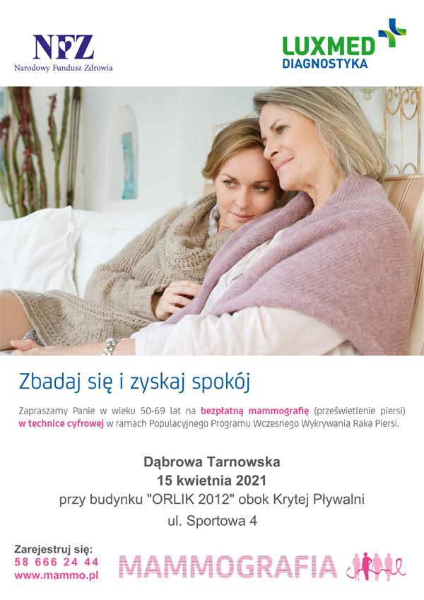 LUX MED mammografia Dąbrowa Tarnowska LUX MED zaprasza na bezpłatne badania mammograficzne