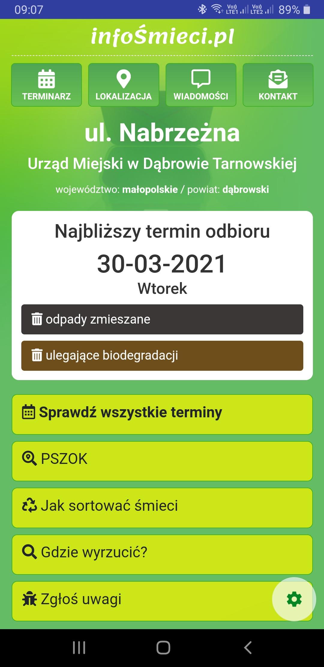 Screenshot 20210319 090705 Aplikacja z harmonogramem odbioru odpadów komunalnych