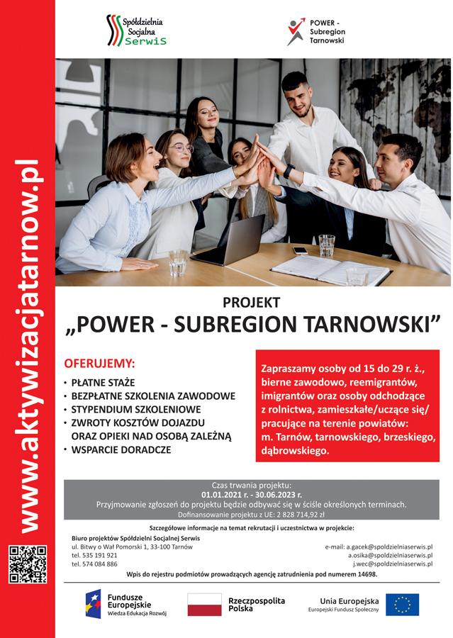 """plakat power subregion tarnowski 03 2021 Rozpoczęła się IV rekrutacja w projekcie """"POWER – Subregion Tarnowski"""""""