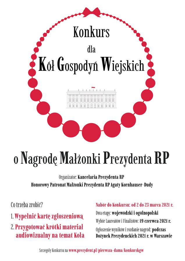 v11 konkurs kol gospodyn wiejskich plakat Konkurs dla Kół Gospodyń Wiejskich o Nagrodę Małżonki Prezydenta RP
