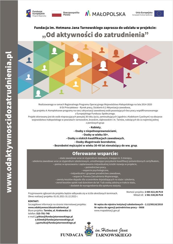 1 ODZ plakat projektowy1 Zaproszenie do udziału w projekcie Od aktywności do zatrudnienia