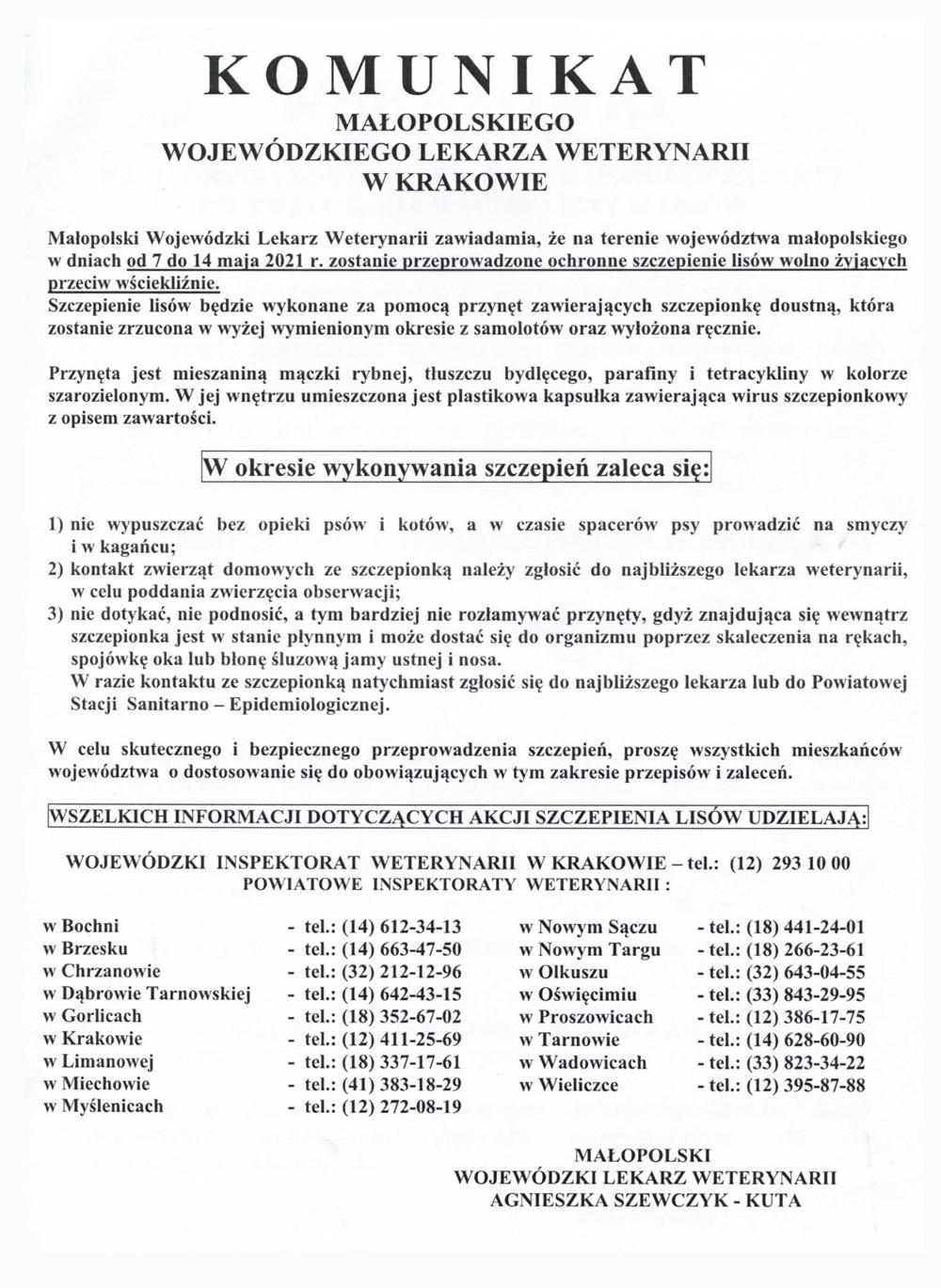 Komunikat WLW 2021 Komunikat Małopolskiego Wojewódzkiego Lekarza Weterynarii w Krakowie dot. akcji szczepienia lisów