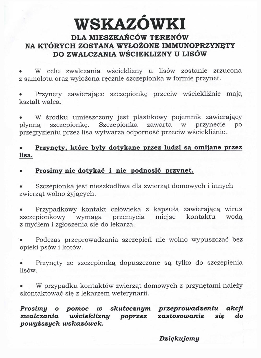 Wskazówki szczepienie lisów 2021 Komunikat Małopolskiego Wojewódzkiego Lekarza Weterynarii w Krakowie dot. akcji szczepienia lisów