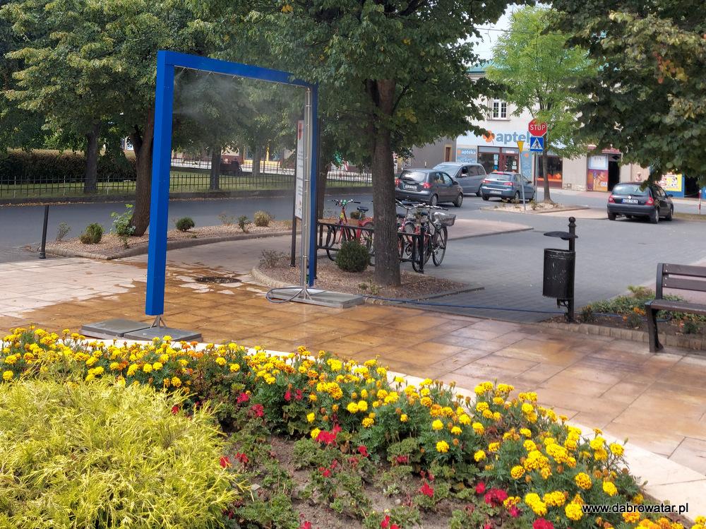 Kurtyna wodna w Dąbrowie Tarnowskiej 4 Kurtyna wodna przed dąbrowskim Urzędem Miejskim