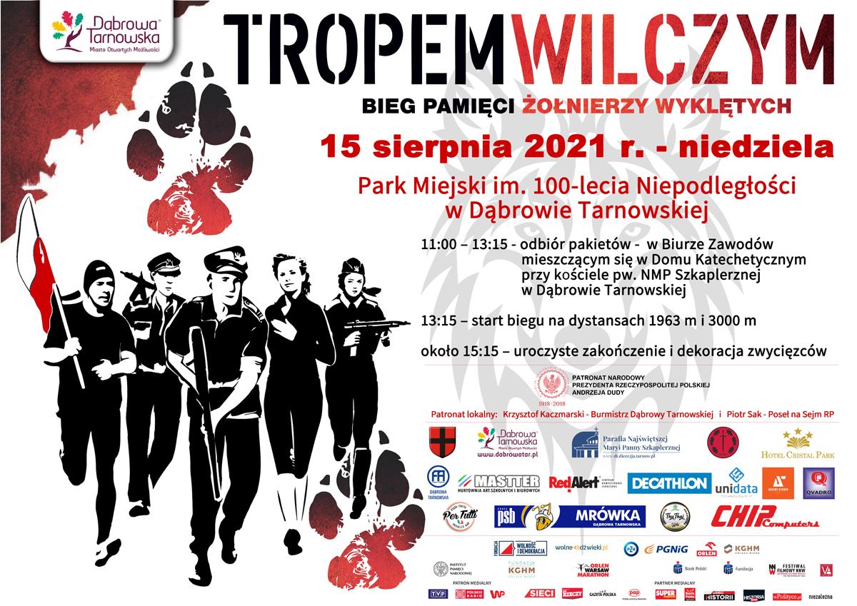 Plakat BiegTropemWilczym 2021 Dąbrowa Tarnowska1 Zapraszamy na Bieg Tropem Wilczym   Dąbrowa Tarnowska   15 sierpnia 2021