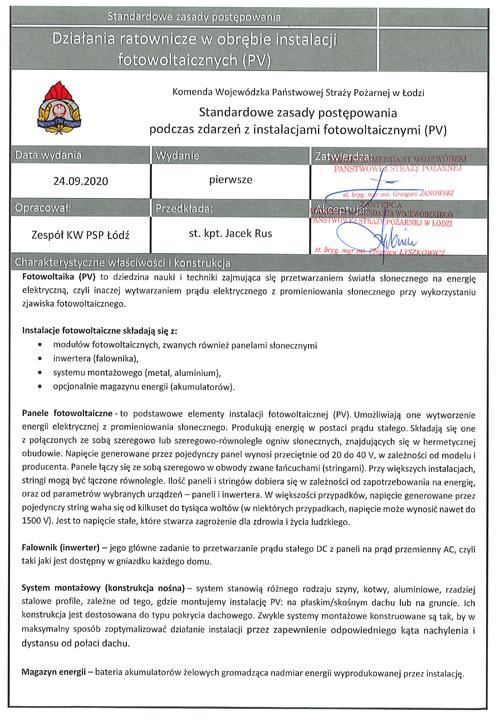 Procedura ppoż fotowoltaika PV Komenda Powiatowa Państwowej Straży Pożarnej w Dąbrowie Tarnowskiej informuje o procedurach postępowania podczas pożarów instalacji fotowoltaicznej (PV)