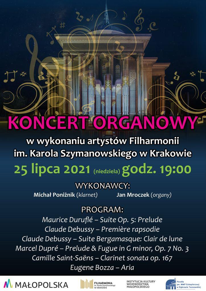 program koncert 2 Zaproszenie na koncert muzyki organowej w Kościele NMP Szkaplerznej w Dąbrowie Tarnowskiej