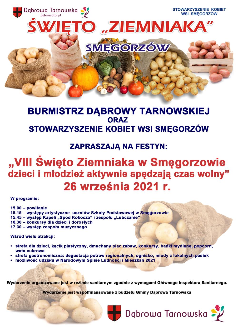 Święto Ziemniaka 2021 plakat Wraz z SKW Smęgorzów zapraszamy na Święto ziemniaka