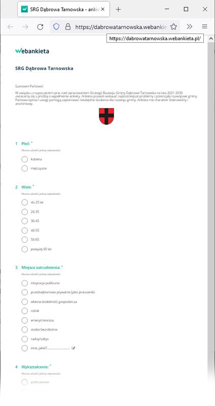 """Ankieta SGDT 2021 Zachęcamy do wypełnienia ankiety dotyczącej """"Strategii Rozwoju Gminy Dąbrowa Tarnowska na lata 2021 2030"""""""