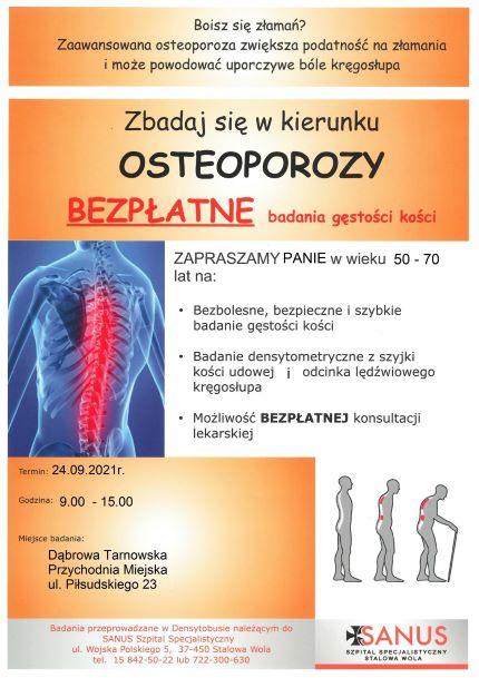 Badanie osteoporoza SGZOZ Dąbrowa Tarnowska Dąbrowska przychodnia SGZOZ zaprasza na badania w kierunku osteoporozy