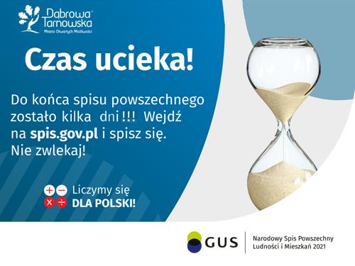 Czas ucieka spi gov p KILKA DNIl <font color=r />Dyżur spisowy NSP2021 w Urzędzie Miejskim w Dąbrowie Tarnowskiej   pozostało już tylko 8 dni!</font>