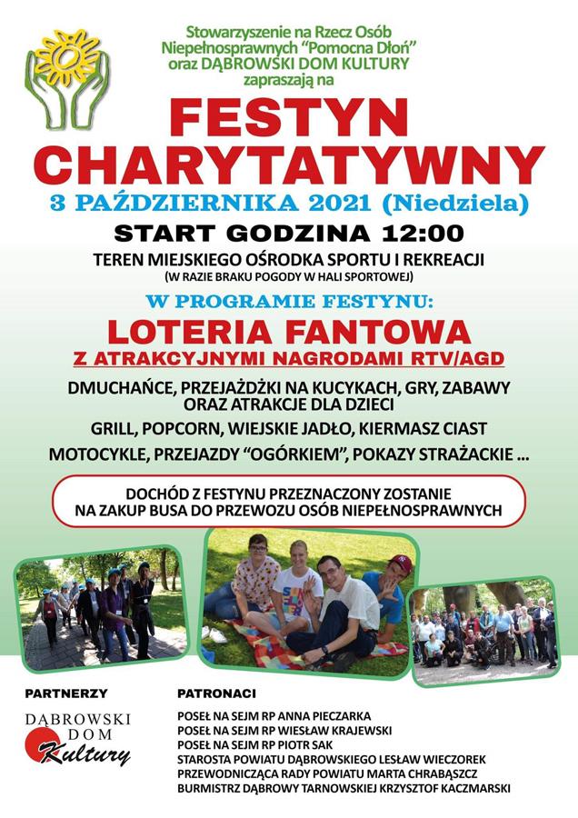 Festyn PD 3 10 2021 Stowarzyszenie Pomocna Dłoń zaprasza na festyn charytatywny na zakup busa