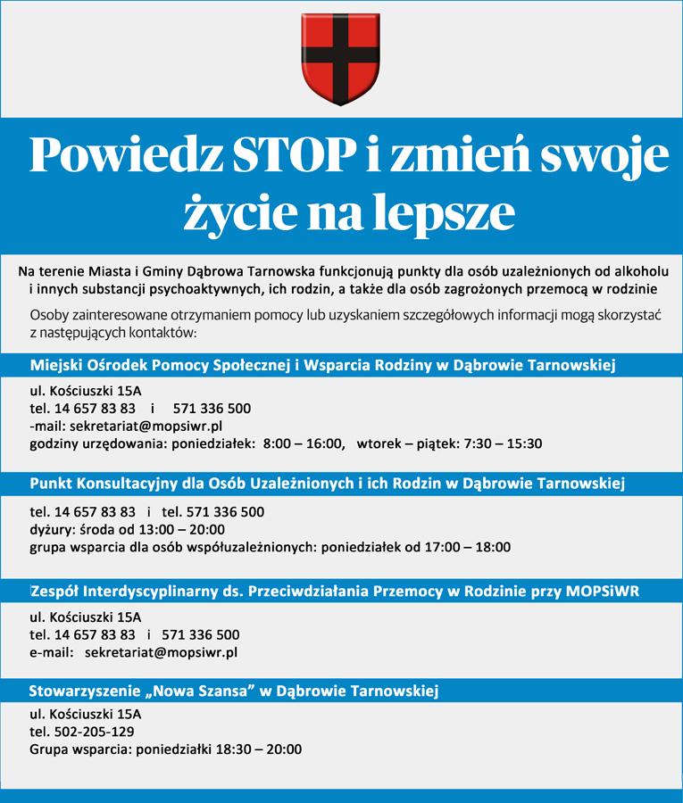 Powiedz STOP ośrodki GDT1 Gmina Dąbrowa Tarnowska włączyła się do projektu Otwórz się na pomoc