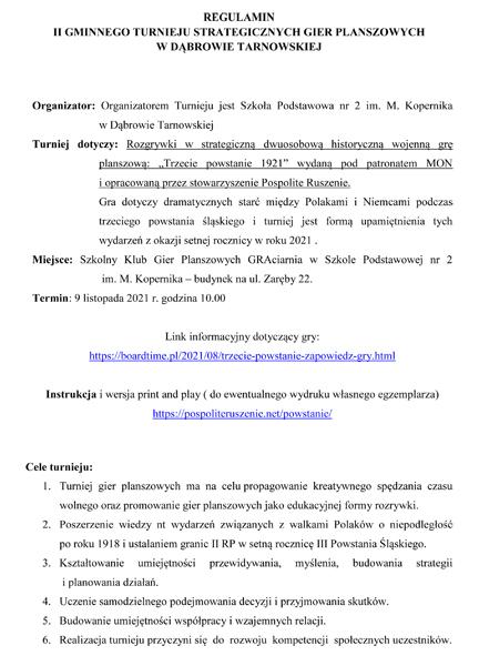regulamin konkurs gminny plansz trzecie powstanie 2011 Dąbrowska GRAciarnia w Szkole Podstawowej nr 2 organizuje II Gminny Turniej Strategicznych Gier Planszowych