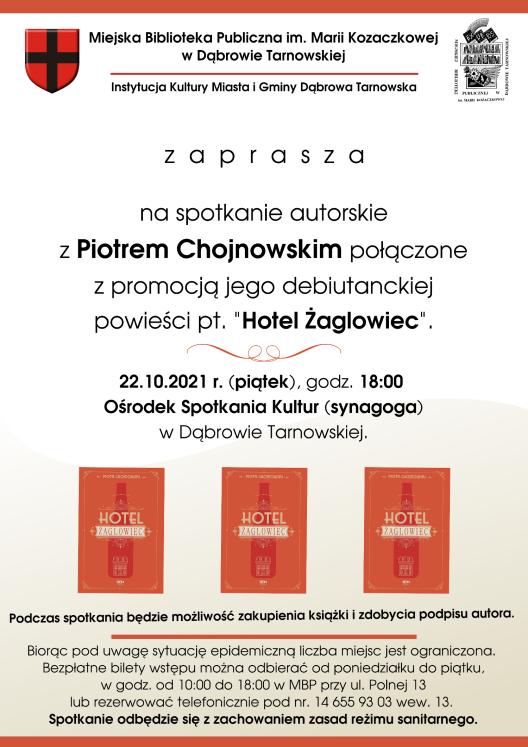 plakat spotkanie autorskie p. Chojnowski.pngmaxwidth1600maxheight747 Dąbrowska biblioteka zaprasza na spotkanie autorskie z Piotrem Chojnowskim
